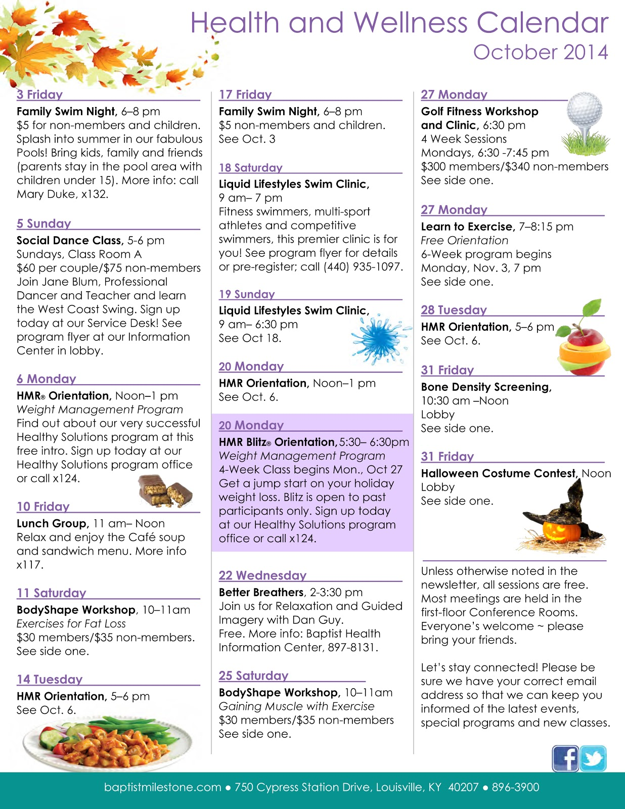 Health and Wellness Calendar