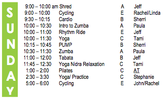 Sunday Fitness Schedule