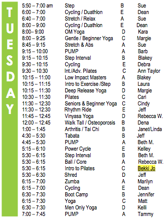 Tuesday Fitness Schedule