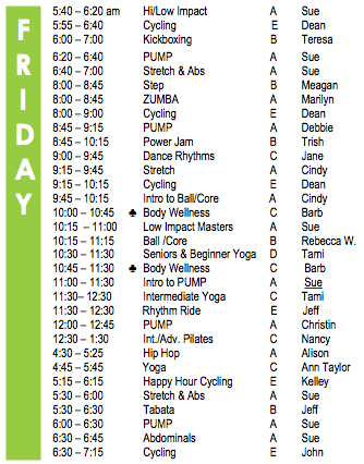 Friday Fitness Schedule