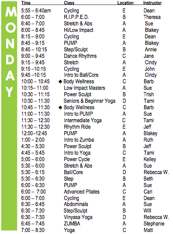 Monday Fitness Schedule