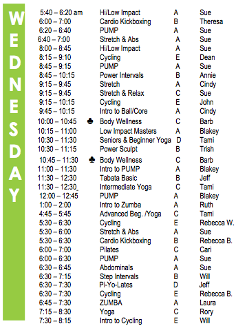 Wednesday Fitness Schedule
