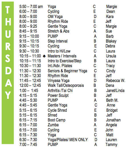 Thursday Fitness Schedule