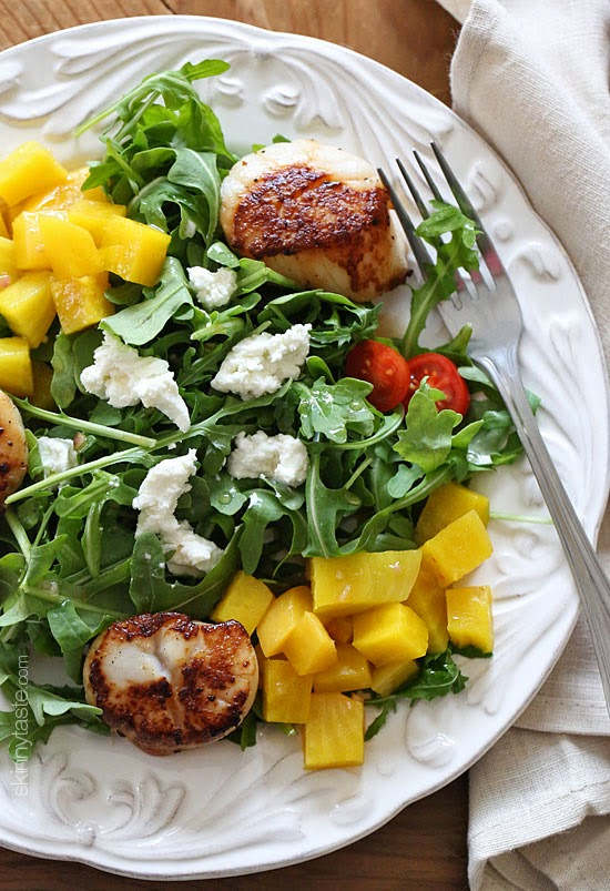 Scallops Beets Goat Cheese and Arugula Salad