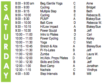 Saturday Fitness Schedule