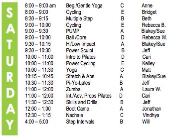 Saturday Fitness Schedule