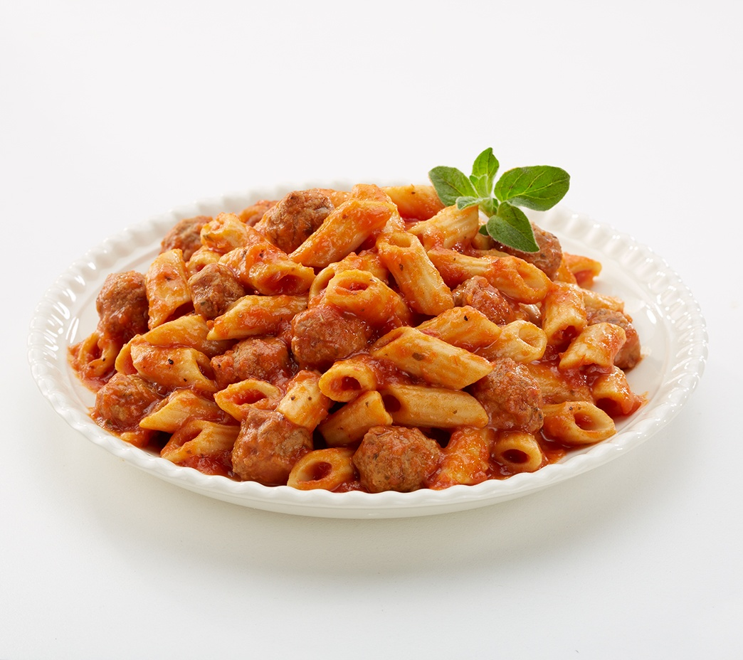 Penne Pasta with Meatballs in Sauce